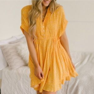 Free People One Fine Day Tunic Dress Yellow Floral